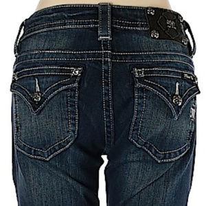 EUC Miss Me jeans 27 x 31.5 mid rise dark wash
